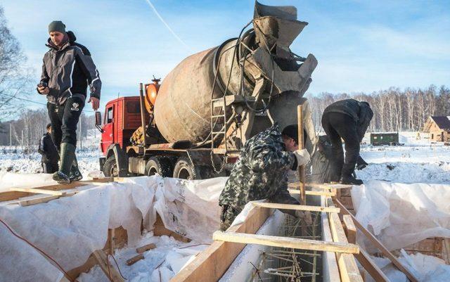 Заливка бетона зимой своими руками 40