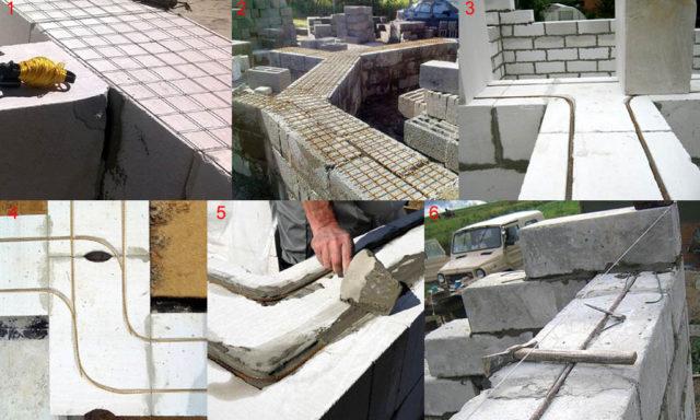 Армопояс представляет собой параллельную стенам дома линию из монолитного бетона, выполняющую основную функцию по увеличению прочности стен