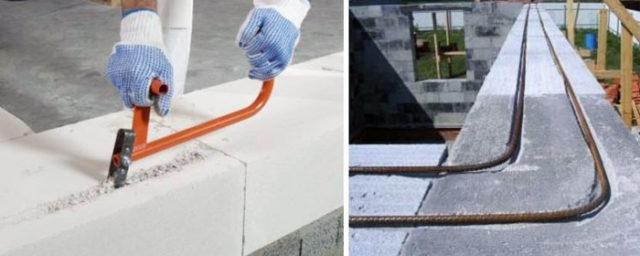 Пространство между блоками заполняется бетоном марки М200-М300