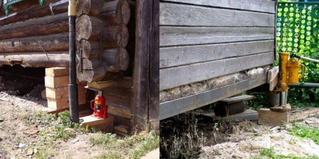 С помощью домкратов необходимо подпереть венец жилища, для этого отлично подойдет прибитая к бревну упорная доска